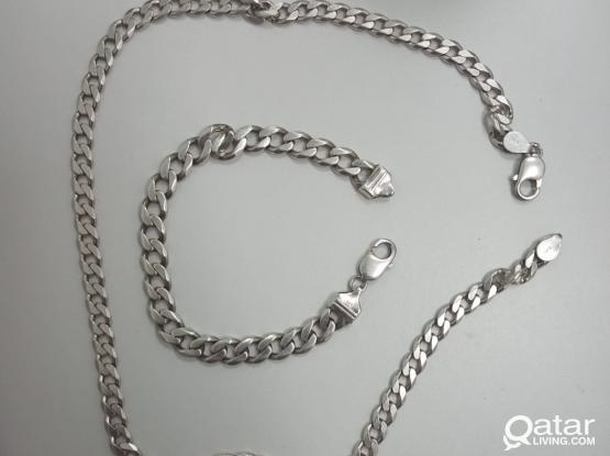 925 SILVER CHAIN & BRACELET  total weight 70 grams
