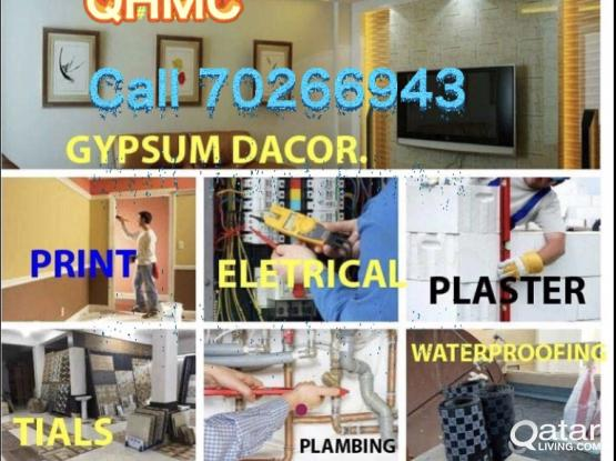ELECTRICIAN PLUMBING GYPSUM PORTION CALL 30976088 MAINTENANCE WORK painting waterproof Plumber Electric