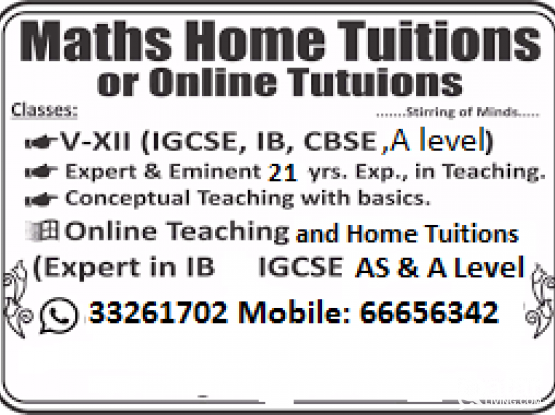 Experienced maths tutor at your home/Online/Edexcel_Cambridge/ IGCSE/call 33261702