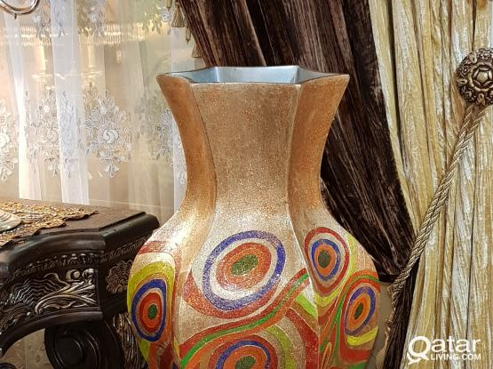 Big size vase with handmade colouring