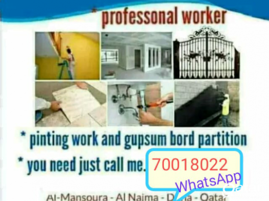 All kinds of works. Maintenance, Gypsum, Painting, Partition, Wallpaper. 70018022