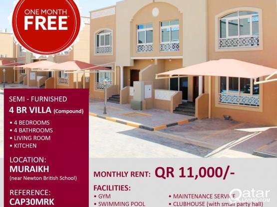 no commission - 4 BHK Villa |Muraikh | 1 Month free