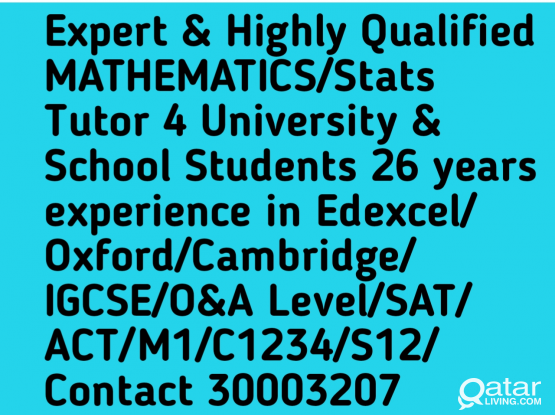 MATH/Stats Tutor Highly Qualified 26Yr Experience