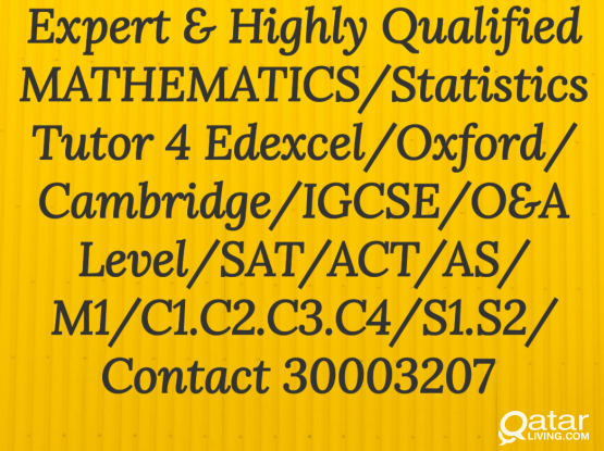 MATH Tutor4 all Kind of MATH Books /Edexcel /Cambridge/Oxford/26yr Experience