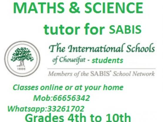 SABIS excellent Maths /science classes _Grade 5 to 10 online/at your home for all grades:66656342