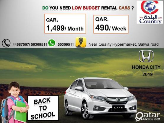 HIRE 2019 MODEL HONDA CITY AT 1499QR PER MONTH ONLY.CALL-50309511.