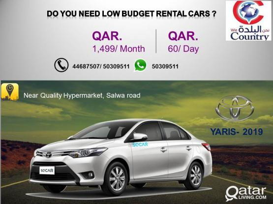 HIRE TOYOTA YARIS 2019 MODEL CAR AT JUST 1499QR/MONTH.CALL-50309511