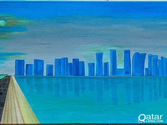 Massive 120x40 cms -Doha skyline - Ready to hang Oil Painting on Canvas