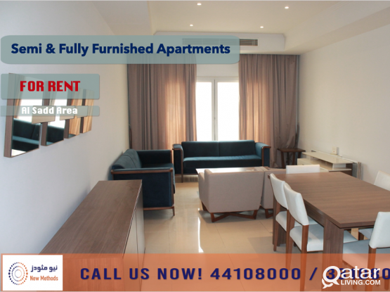 SEMI-FURNISHED 2 BEDROOM APARTMENT AT AL SADD - FOR RENT