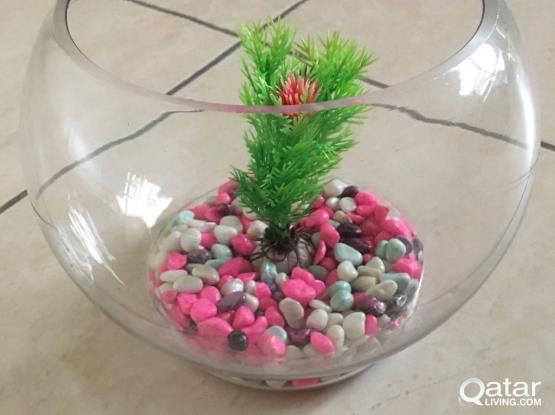Fish Bowl For Sale With Stone & Fish Net