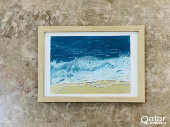 Acrylic painting of a sea wave