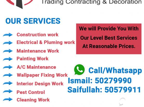 CONSTRUCTION|ELECTRICAL|PLUMBING|MAINTENANCE|PAINTING|CLEANINGWORK|CALL US 50279990|50579911
