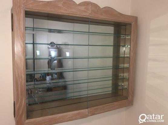 Custom-built oak display cabinet