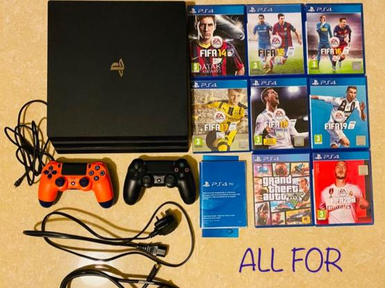 URGENT SALE:PS4 Pro+2Controllers+8Games(GTA5&Fifa)