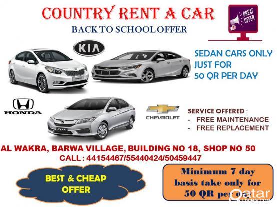 Sedan car start from 50 qr per day for more infro : 4415 4467
