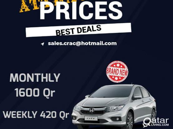 best deals! Hire Brand New Honda City 2020 for 1600 per month