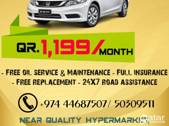 SEDAN CAR FOR CHEAP PRICE. 1199QR/MONTH ONLY.CALL-50309511.