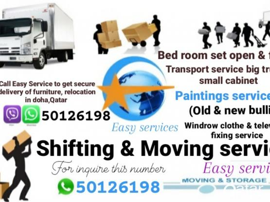 """""""Easy services """" in Doha,Qatar Moving & Shifting, Carpet,Windrow Curtain, Sofa clothe Old changes & new fixing. Please our Contract or whatsapp number 50126198"""