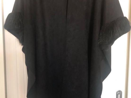 Black Chamoisette Poncho Embellished With Black Fur