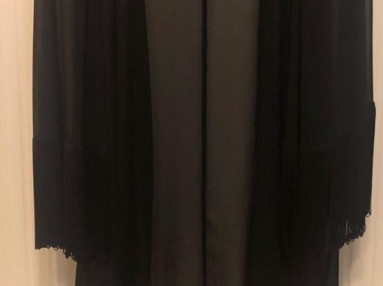 BSB Black Chiffon Jacket With Wide Fringed Sleeves