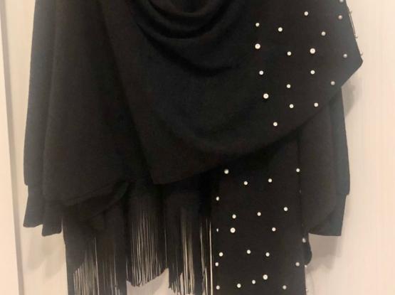 Black Jacket Embellished With Pearls And Fringes