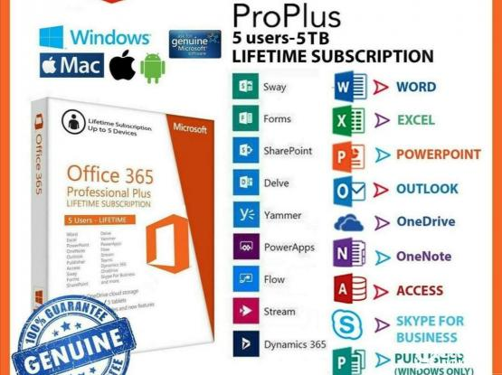 Microsoft Office 365 Pro Puls including One Drive 5TB Massive Storage life time subscription