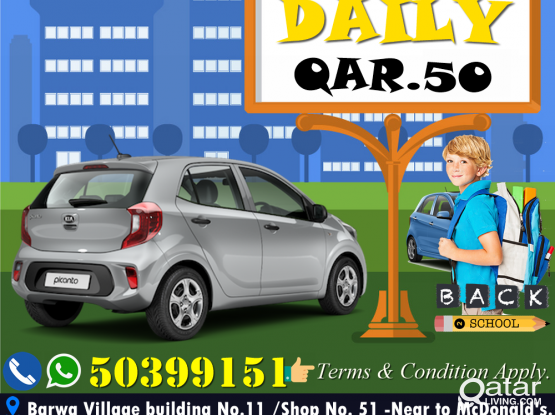 BRAND NEW CAR KIA PICANTO -2019 MODEL /PER DAY QAR. 50!! CONTACT US .50399151/44182020