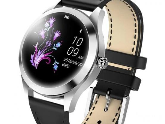 KW10 Smart Watch – Silver – black leather strap – Heart Rate Monitor Step Count Sedentary Reminder I