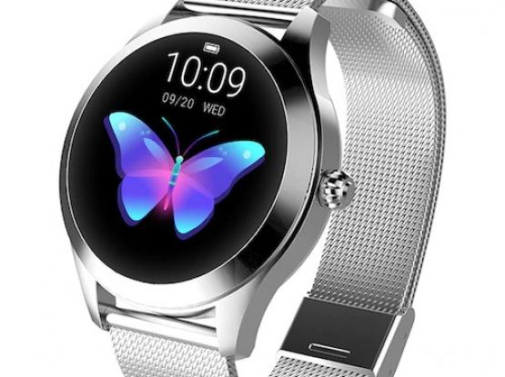 KW10 Ladies Smart Watch – Silver Steel Strap – Heart Rate Monitor Step Count Sedentary Reminder IP68