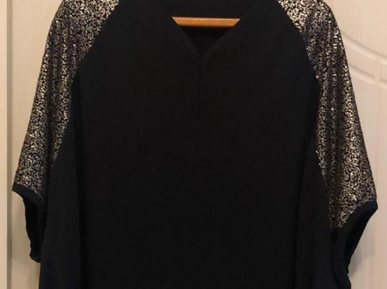 French Made Gold Beaded Black Jersey Top