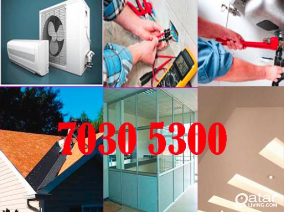 A/c, Electrical, Plumbing, Gypsum, Carpenter etc