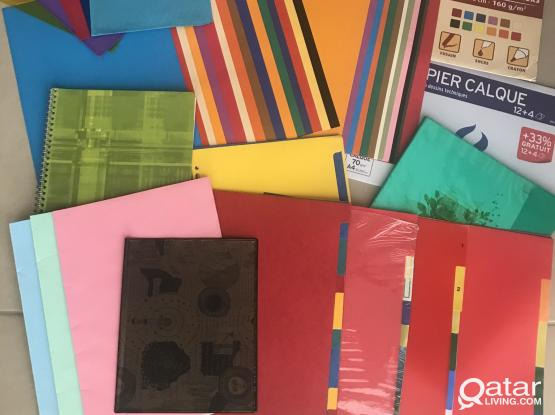 Colored drawing  paper , covers for books, tracing paper, spacers ...