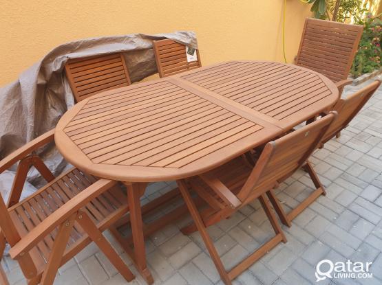 wood table outside.