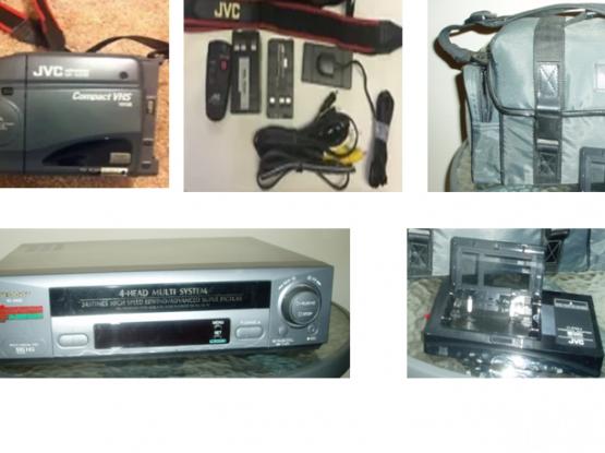 JVC Camera-Recorder/Player Compact VHS Videomovie & Sharp VHS Player/ Recorder