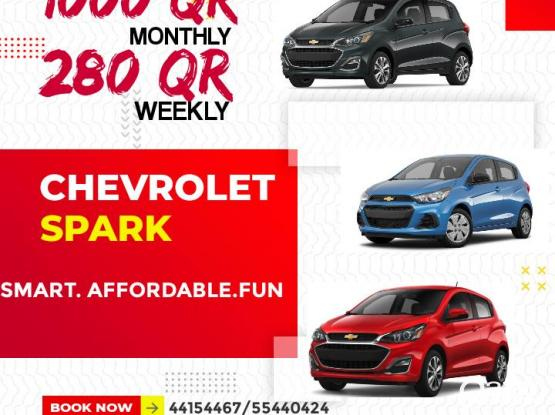 CHEAP AFFORDABLE SMART & FUN CHEVROLET SPARK ONLY 1000 QR PER MONTH; CALL NOW 4415 4467