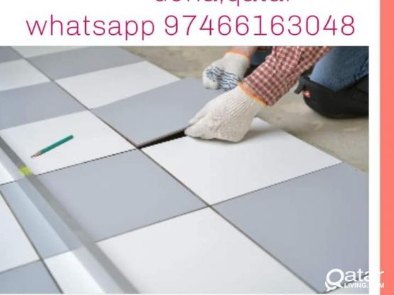 Ceramic Tiles works, Water proofing, Gypsum board, Corniche, GRC, Painting, Interlock.Please66163048