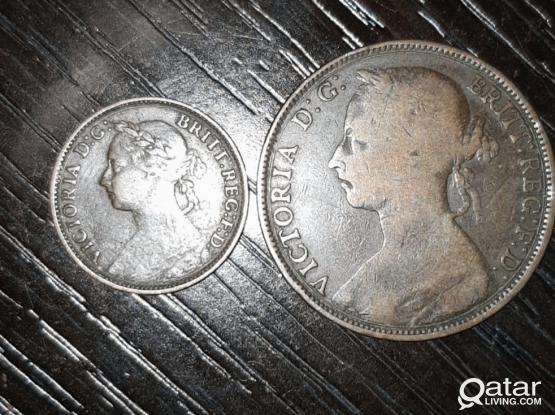 UK Queen Victoria 2 Old Coins.