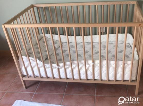 Crib, beech - IKEA Baby Bed with Mattress