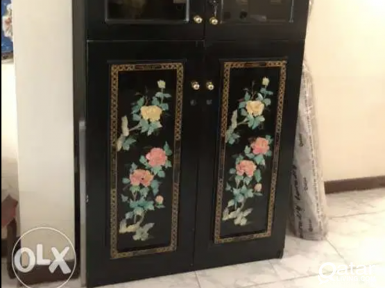 Decorated 4 Door Cabinet with Glass Doors. Oriental Decorated Black Large Cabinet