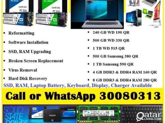 Laptop Desktop MacBook SSD, RAM Upgrading, Reformatting & Repairing Service