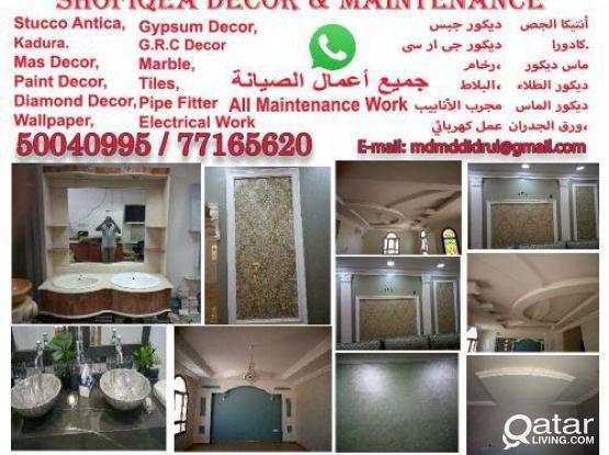 Decor paint/Maintenance/Gypsum/G.R.C/Marble/Tiles/Wallpaper/Kitchen cabinet/Pls contact50040995