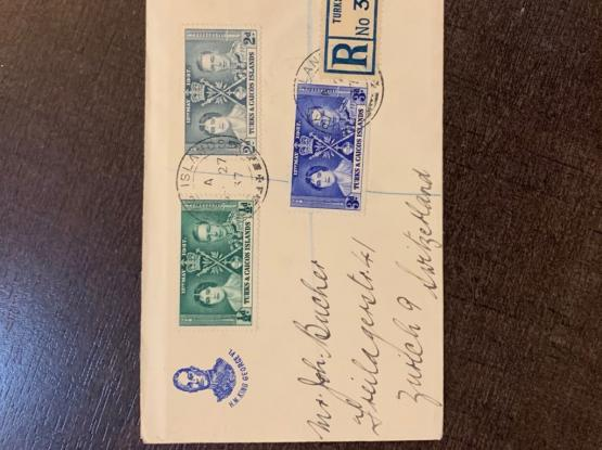 1937 Rare Trinidad, Gibraltar, Turks Caicos Covers