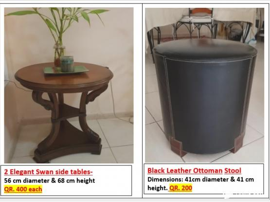 Home Center Items for Sale 1) Two Elegant Swan side tables -- 2) Black Leather Round Ottoman Stool