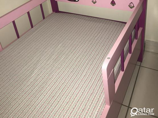 Beautiful Hello Kitty wooden bed+mattress+bedsheets