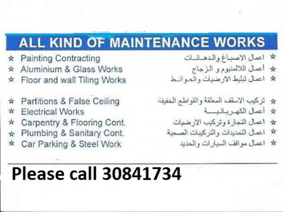 Expert Painter, Steel works, Plumbing, Electric works, Tiles, gypsum. Please call 30841734