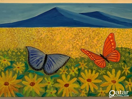 Butterflies - Massive 120x40 cms -Ready to hang - Oil & Acrylic Painting on Canvas frame