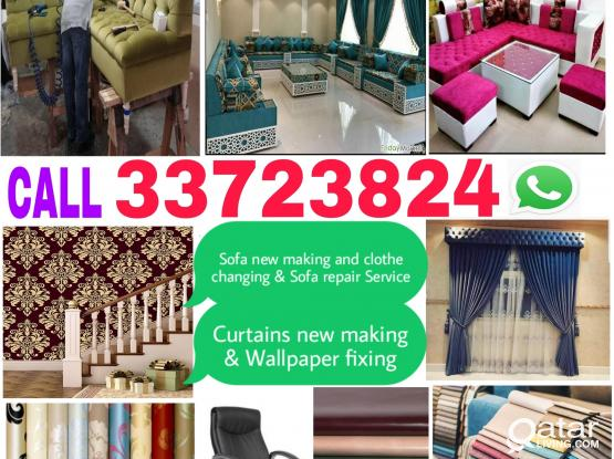 We do New Making  Sofa,Curtains ,Carpet and wallpaper fixing,Chair, Sofa clothe changing & new making Call 33723824 WhatsApp.