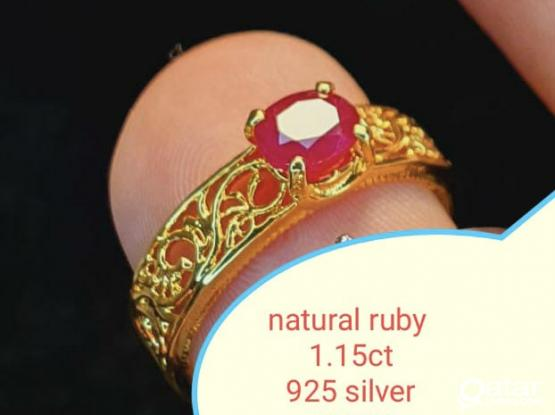 Natural stones silver rings size 14 / 15