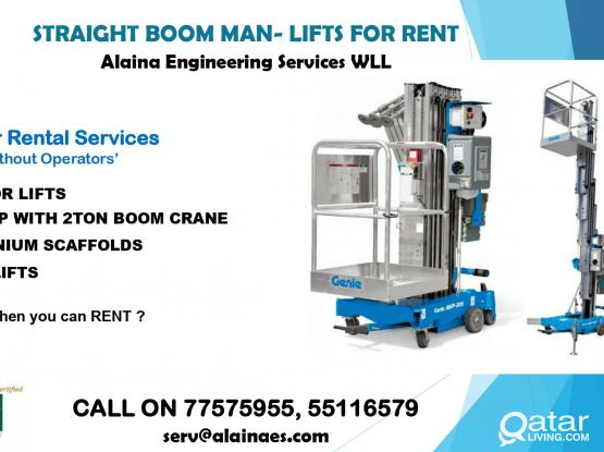 STRAIGHT BOOM MAN- LIFTS FOR RENT