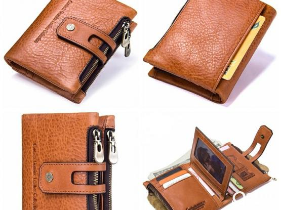 Genuine Leather Bifold vertical wallet with zip pocket for men - Model#1238